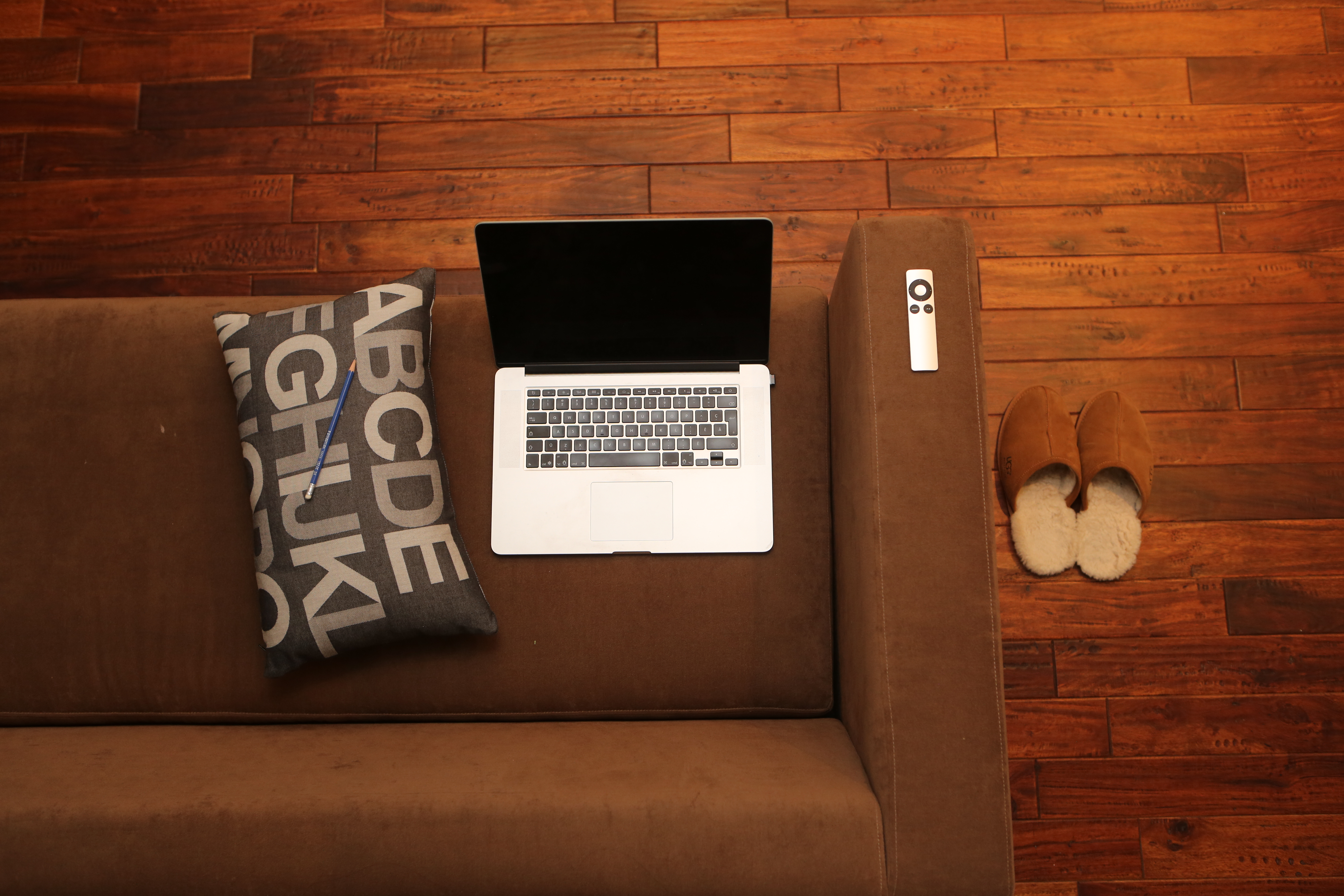 A comfortable sofa to work from
